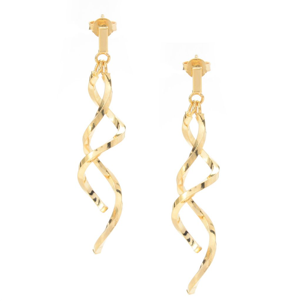 "141-718 - 14K Gold 2"" Polished Double Spiral Drop Earrings"