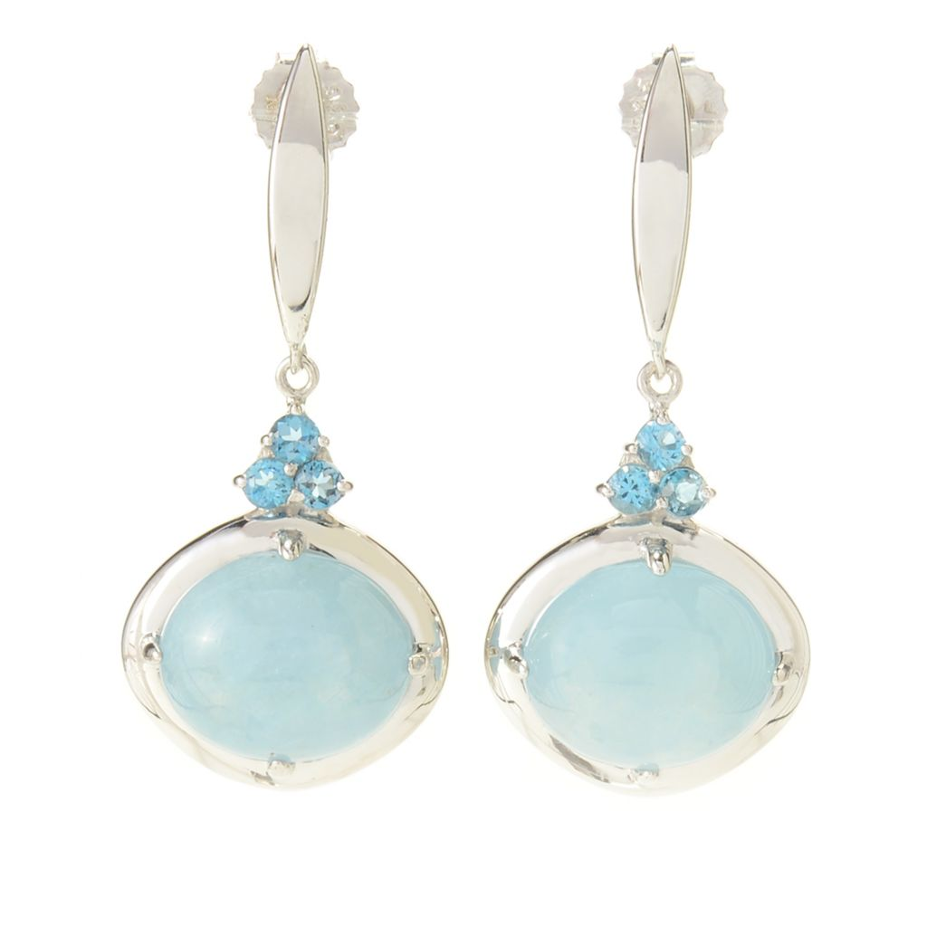 "141-719 - Gem Treasures Sterling Silver 1.25"" Aquamarine & London Blue Topaz Drop Earrings"