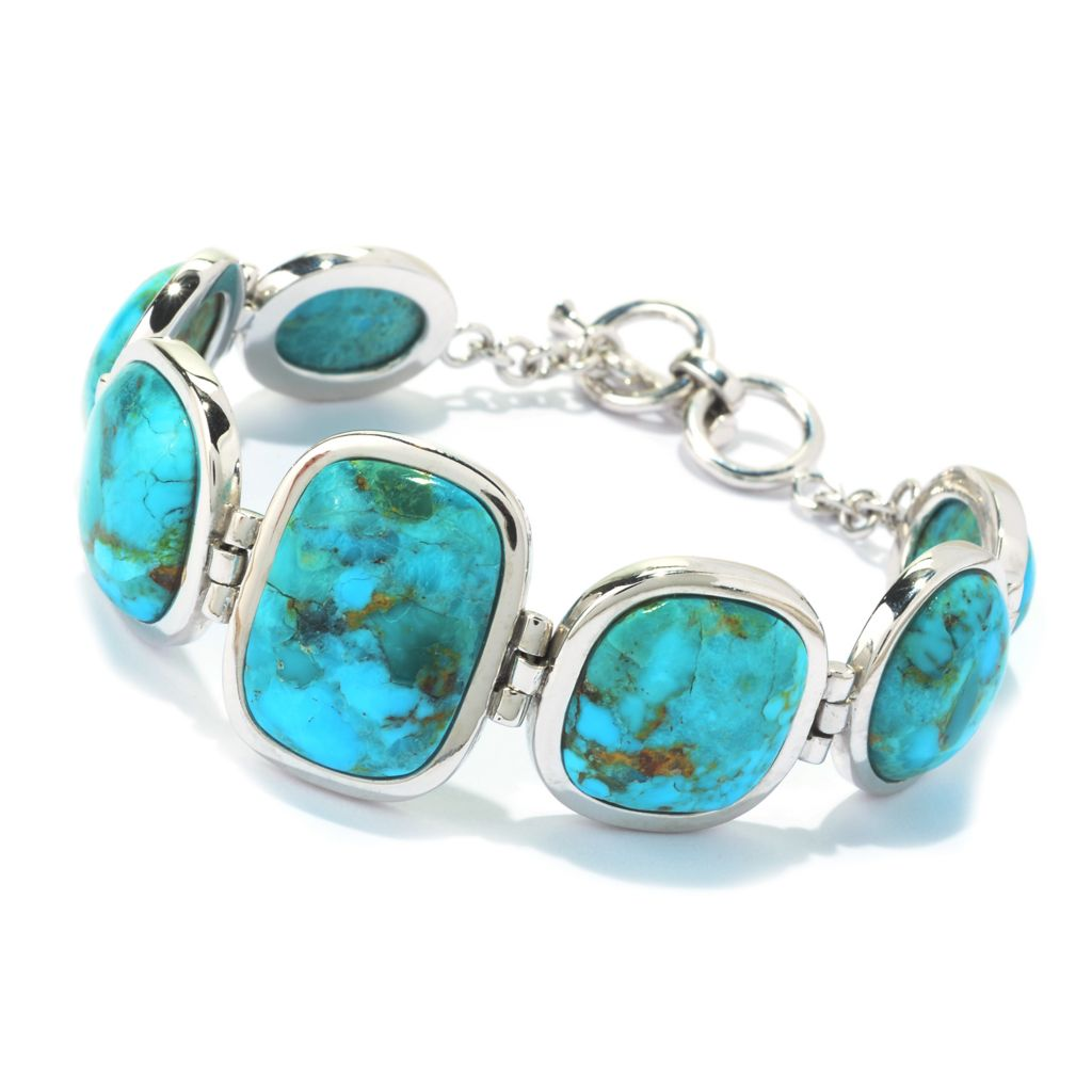 "141-720 - Gem Insider Sterling Silver 8"" Multi Shape Kingman Turquoise Toggle Bracelet"