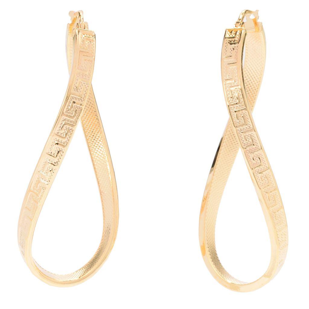 """141-723 - Toscana Italiana 18K Gold Embraced™ 2"""" Elongated Twist Greek Key Hoop Earrings"""