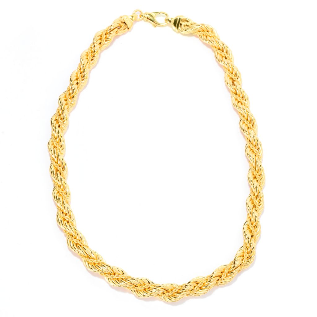 "141-725 - Toscana Italiana 18K Gold Embraced™ 20"" Polished Twisted Chain Rope Necklace"