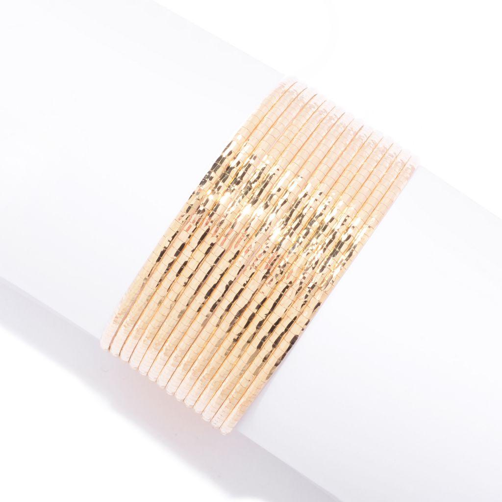 141-728 - Toscana Italiana 18K Gold Embraced™ Multi Strand Wide Bracelet w/ Magnetic Clasp