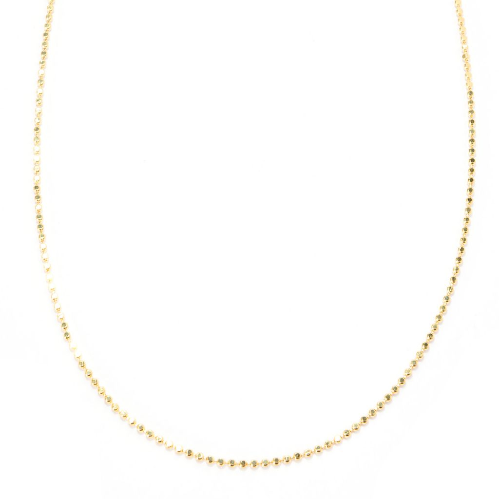 141-729 - Toscana Italiana 18K Gold Embraced™ Diamond Cut Beaded Link Chain Necklace