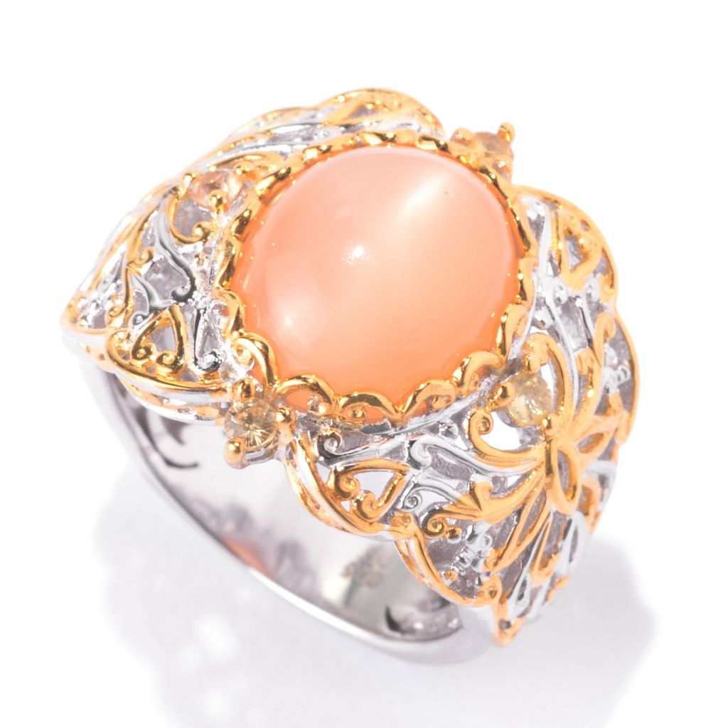 141-732 - Gems en Vogue 12 x 10mm Oval Peach Moonstone & Golden Sapphire Scrollwork Ring