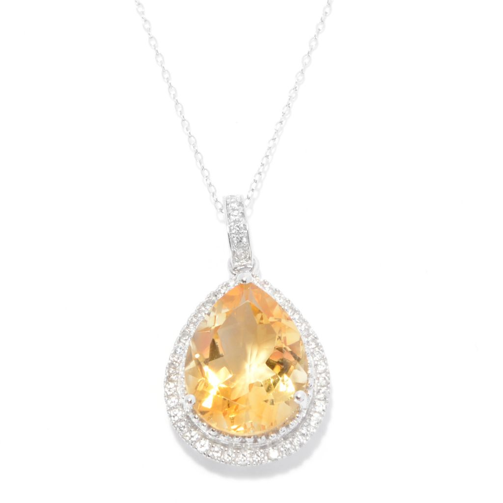141-733 - Gem Treasures Sterling Silver 7.50ctw Gemstone & White Zircon Pendant w/ Chain