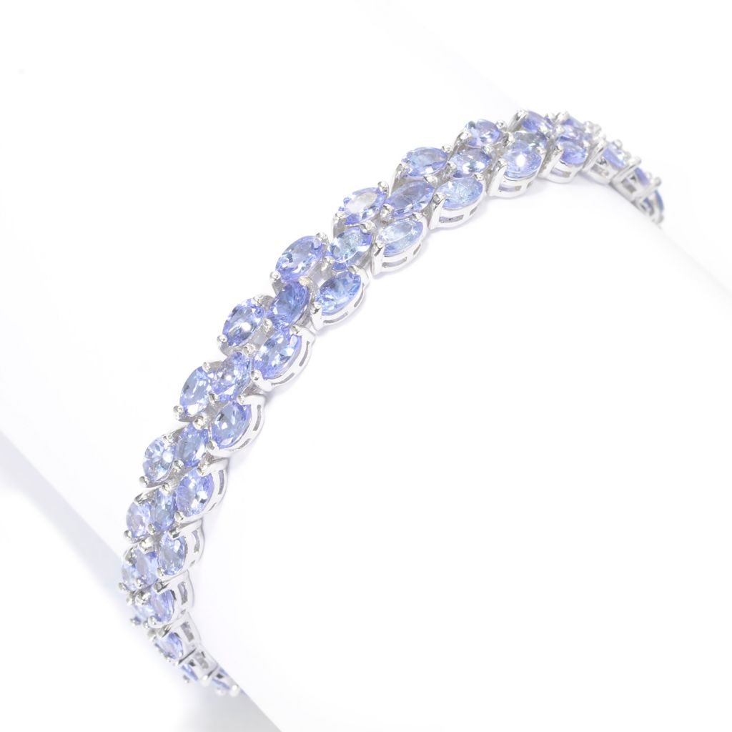 "141-734 - Gem Treasures Sterling Silver 7.75"" 17.50ctw Oval Tanzanite Line Bracelet"