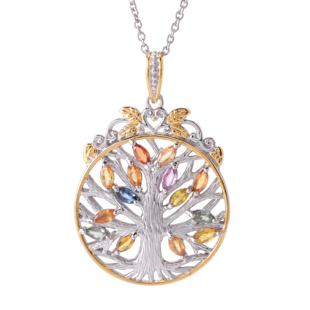 141-736 - Gems en Vogue 2.21ctw Marquise Shaped Sapphire Tree of Life Pendant w/ Chain