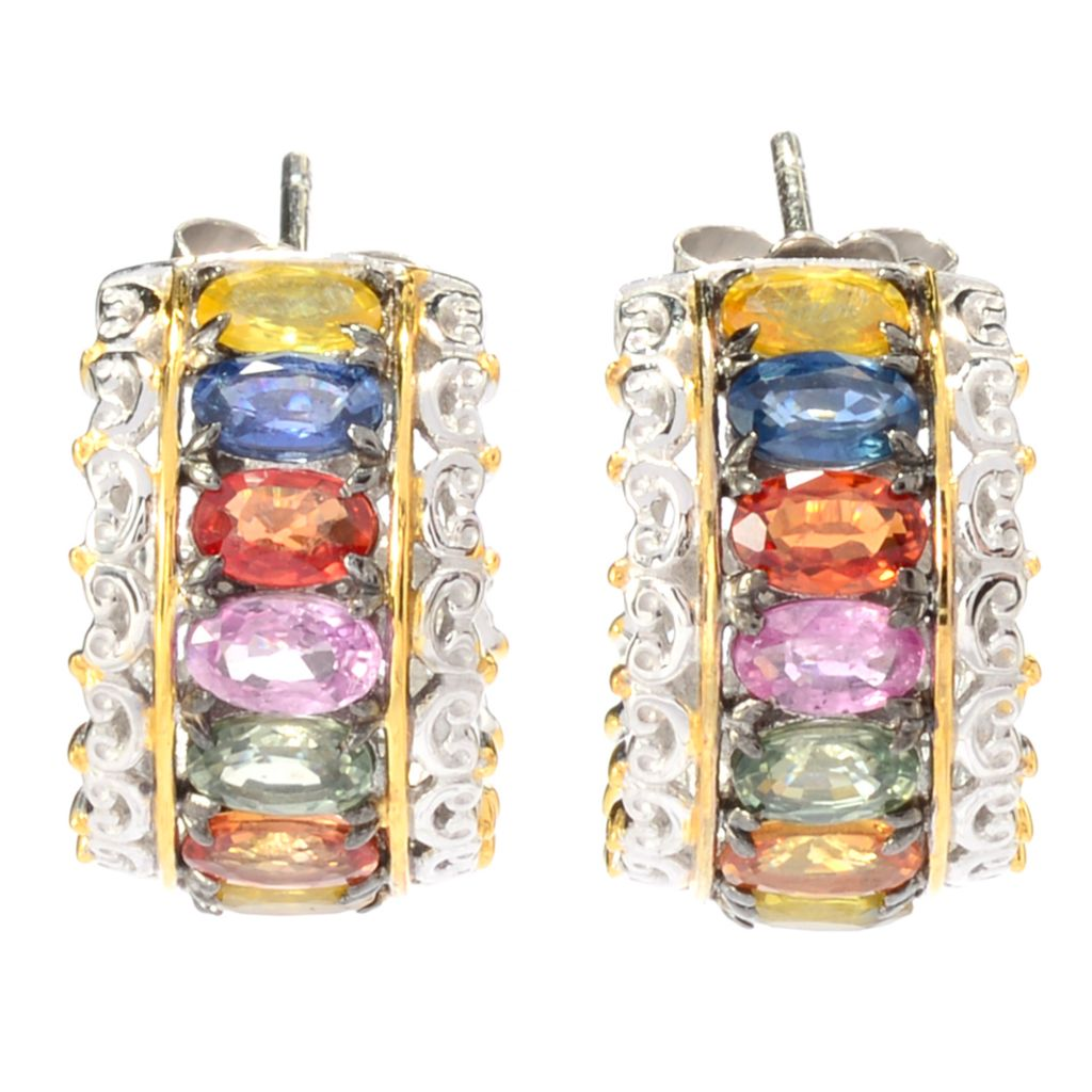 141-738 - Gems en Vogue 4.48ctw Oval Multi Color Sapphire Hoop Earrings