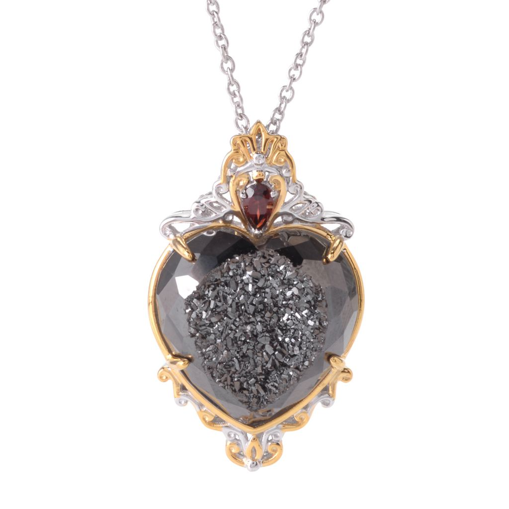 "141-739 - Gems en Vogue 22mm Drusy & Gemstone Heart Pendant w/ 18"" Chain"