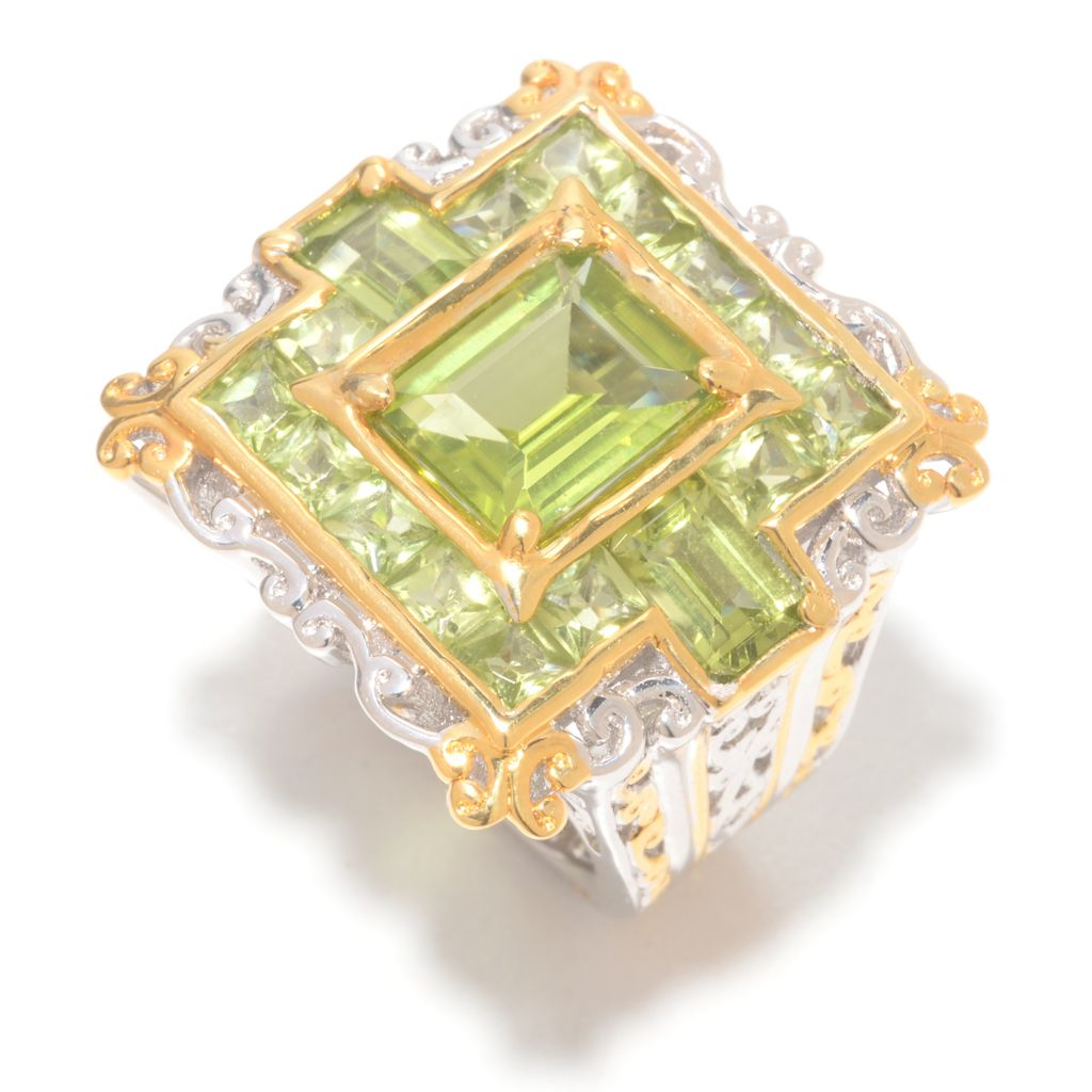 141-740 - Gems en Vogue 5.81ctw Peridot Open Scrollwork Square Ring