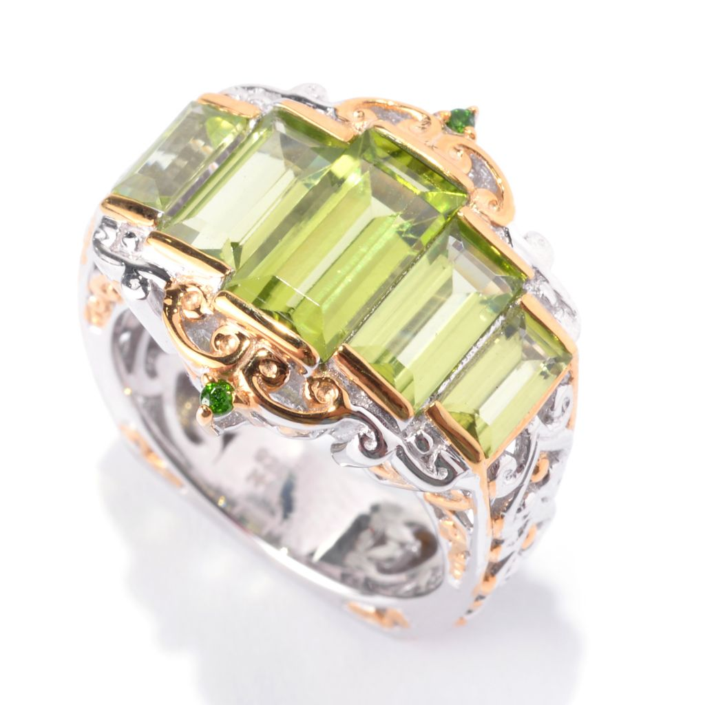 141-741 - Gems en Vogue 6.92ctw Baguette Peridot & Chrome Diopside Tiered Ring