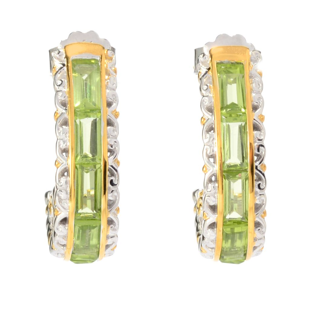 141-742 - Gems en Vogue 5.40ctw Baguette Shaped Peridot Hoop Earrings