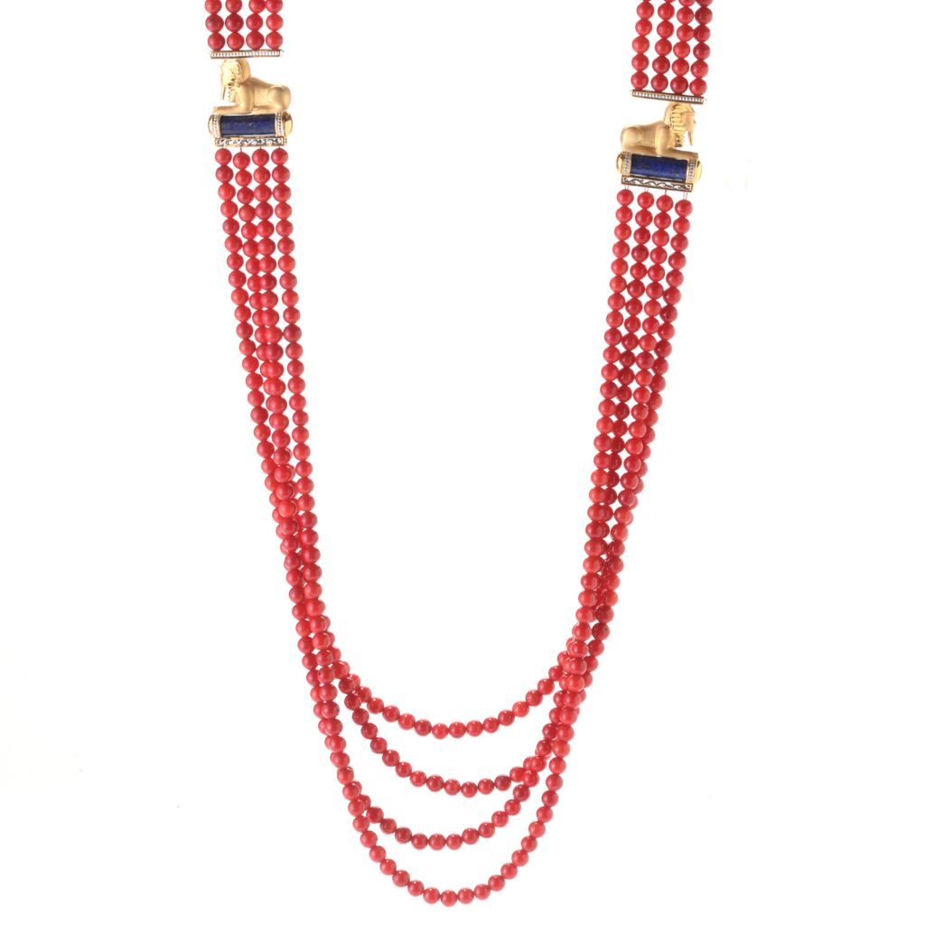"""141-744 - Gems en Vogue 36"""" 20 x 6.5mm Lapis Lazuli & Red Coral Beaded Egyptian Necklace"""