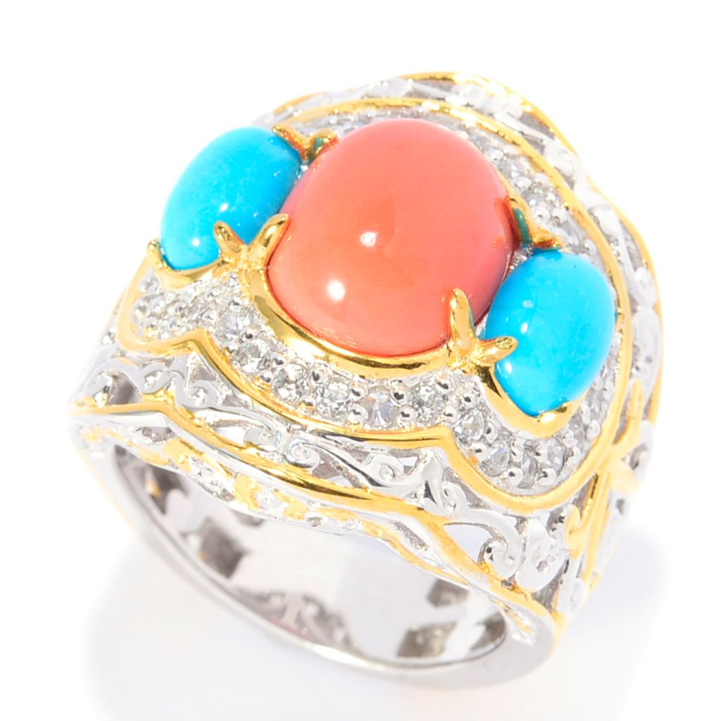 141-745 - Gems en Vogue 11 x 9mm Bamboo Coral, Sleeping Beauty Turquoise & White Zircon Ring