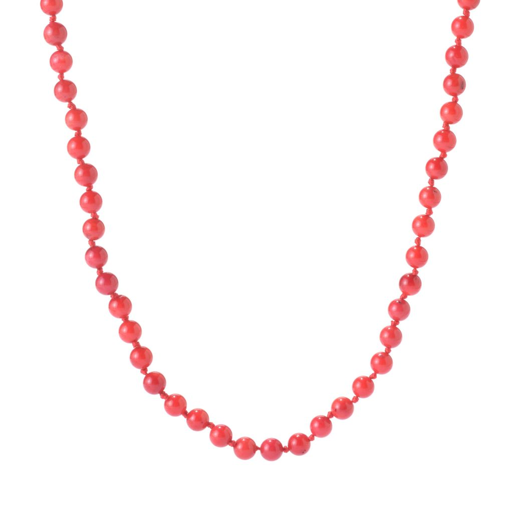 "141-746 - Gems en Vogue 60"" Bamboo Coral Wrap-Around Beaded Toggle Necklace"