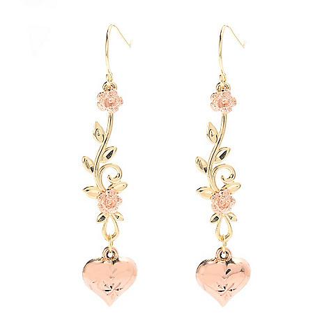 141-751 - 14K Two-tone Gold 1.75'' Flower, Leaf & Heart Dangle Earrings