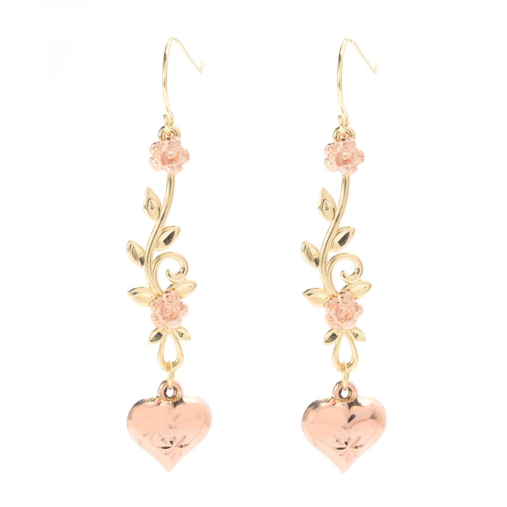 "141-751 - 14K Two-tone Gold 1.75"" Flower, Leaf & Heart Dangle Earring"