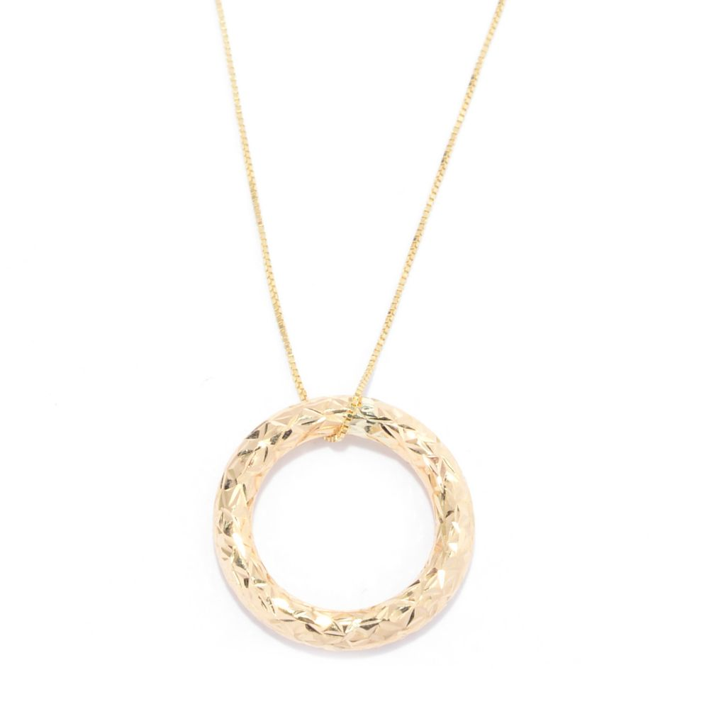 "141-755 - 14K Gold Diamond Cut Circle Pendant w/ 18"" Chain"