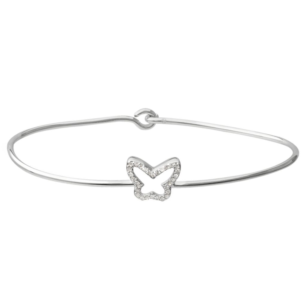 141-757 - Tressa Collection Sterling Silver Simulated Diamond Butterfly Bangle Bracelet