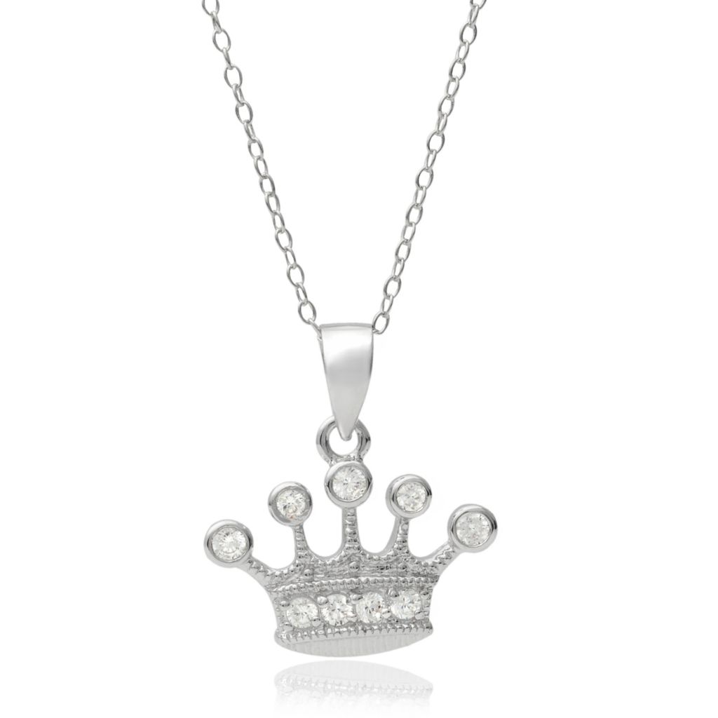 "141-763 - Tressa Collection Sterling Silver Simulated Diamond Crown Pendant w/ 18"" Chain"