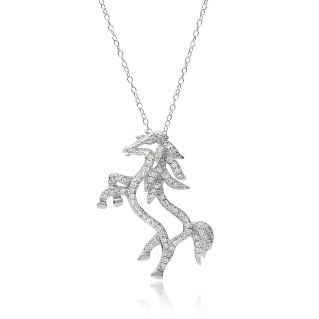 "141-764 - Tressa Collection Sterling Silver Simulated Diamond Horse Pendant w/ 18"" Chain"