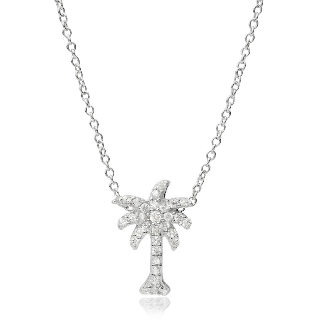 "141-765 - Tressa Collection Sterling Silver Simulated Diamond Palm Tree Pendant w/ 18"" Chain"