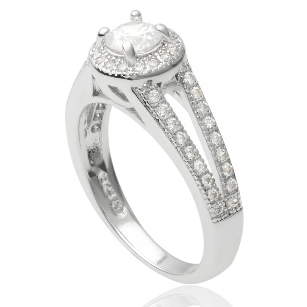 141-768 - Tressa Collection Sterling Silver Simulated Diamond Halo Ring