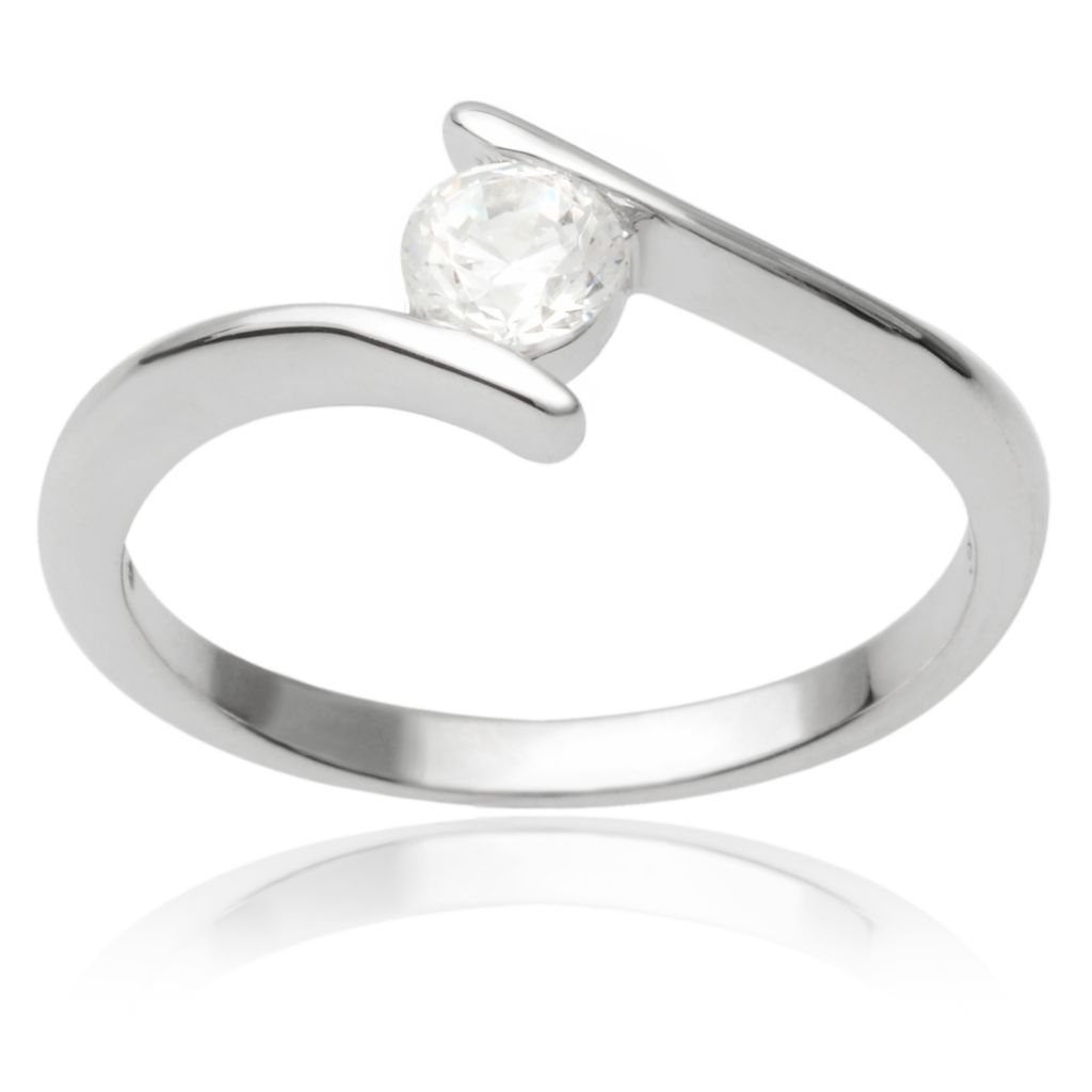 141-769 - Tressa Collection Sterling Silver Simulated Diamond Bypass Solitaire Ring