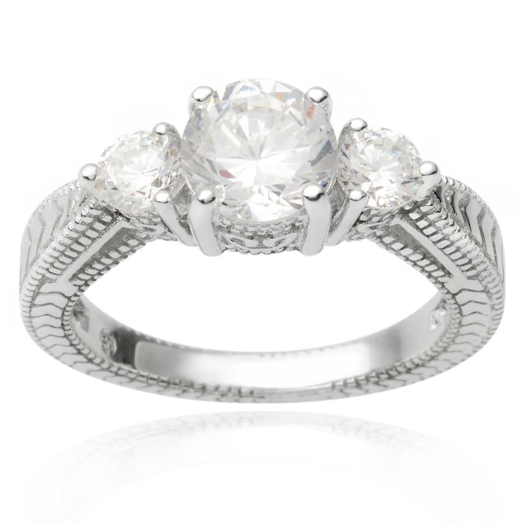 141-772 - Tressa Collection Sterling Silver Simulated Diamond Milgrain Detail Three-Stone Ring