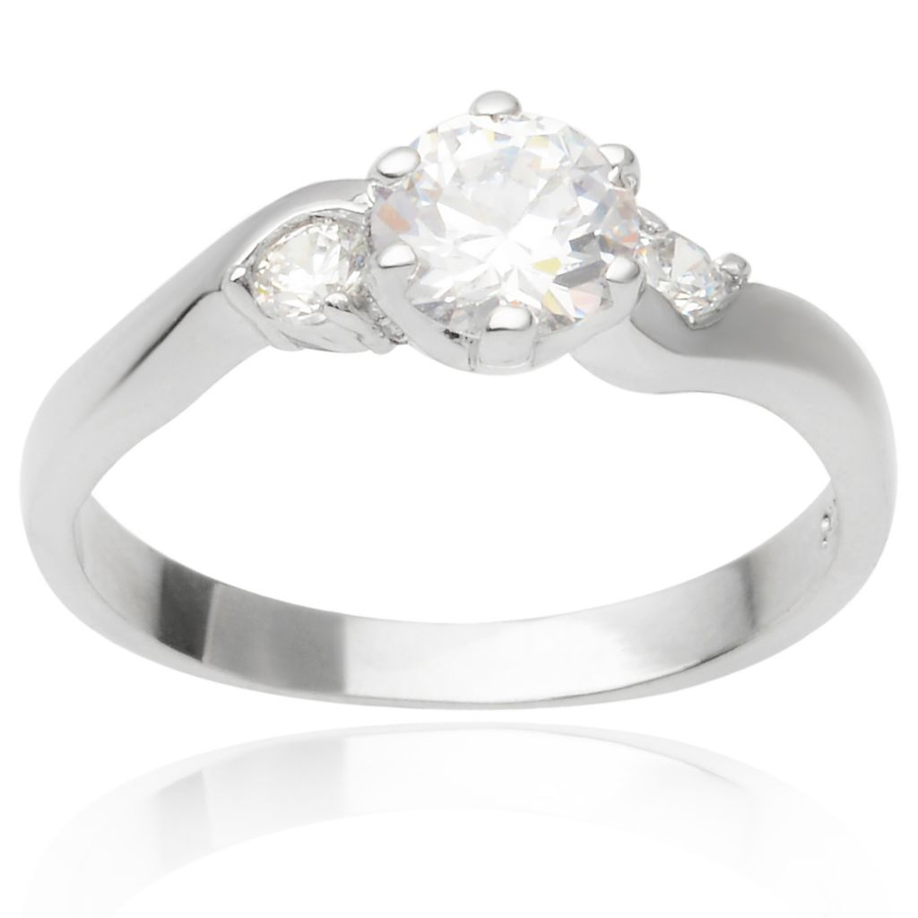 141-773 - Tressa Collection Sterling Silver Simulated Diamond Swirl Ring