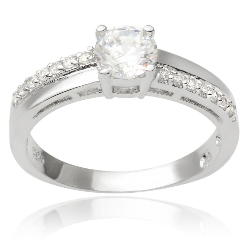 141-775 - Tressa Collection Sterling Silver Simulated Diamond Double Shank Ring