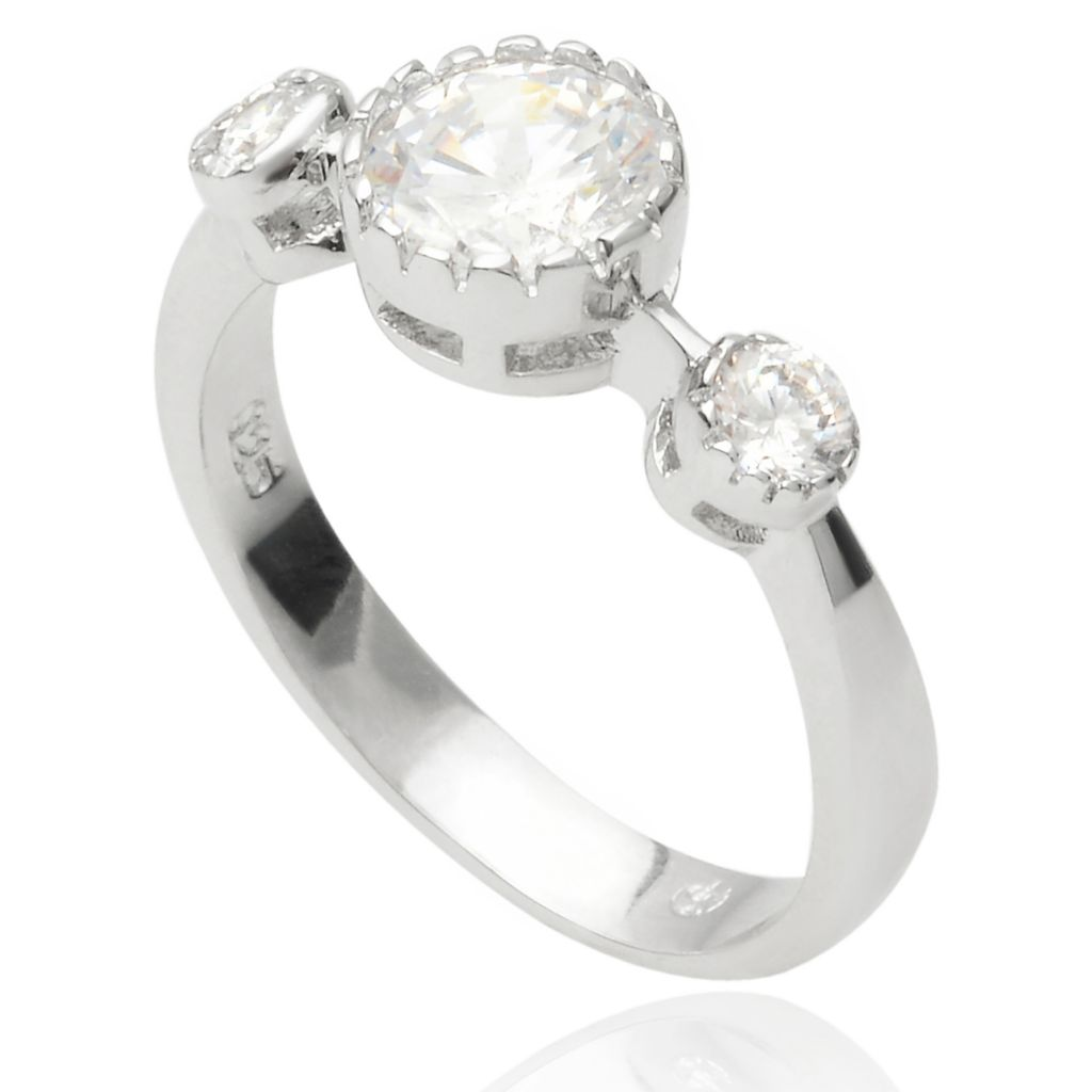 141-776 - Tressa Collection Sterling Silver Simulated Diamond Vintage-Style Three-Stone Ring
