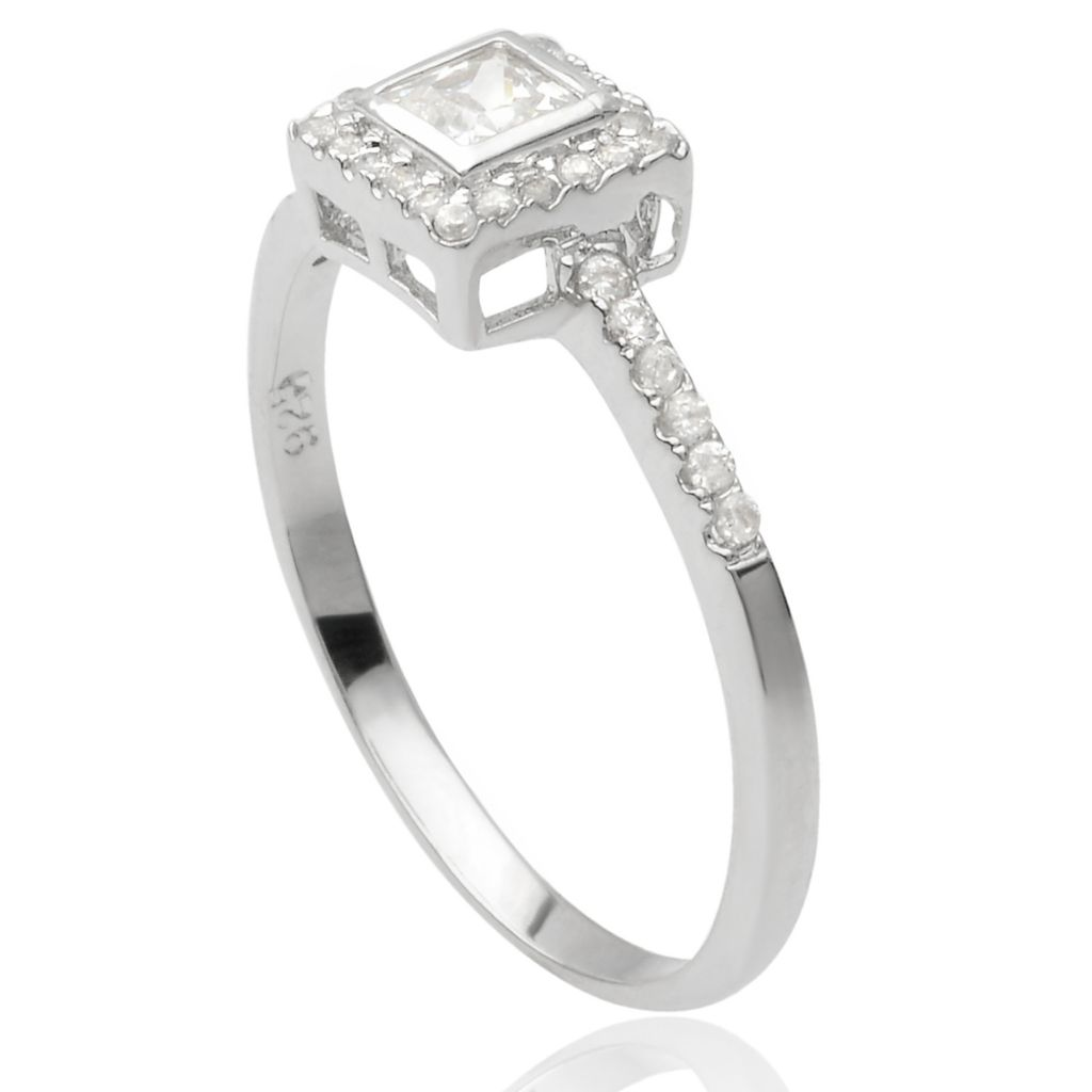 141-779 - Tressa Collection Sterling Silver Simulated Diamond Halo Ring