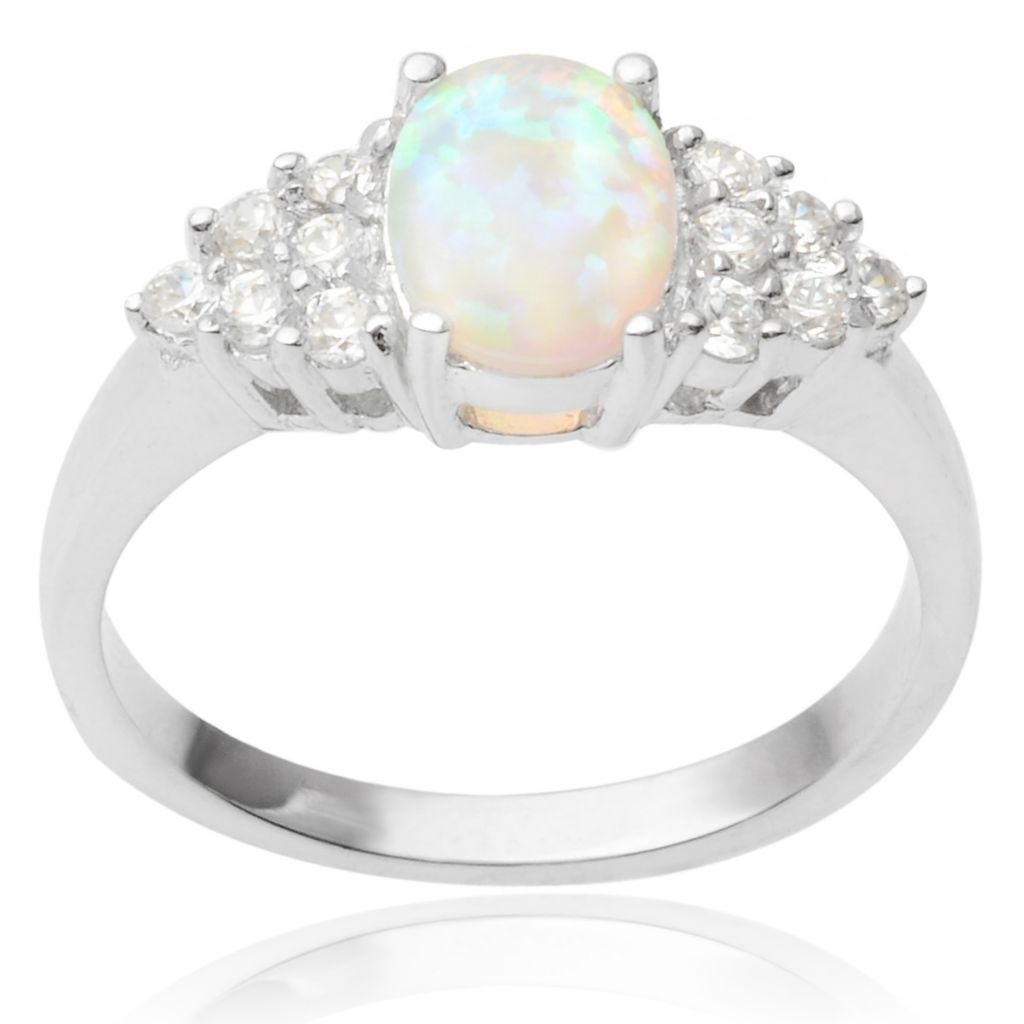 141-780 - Tressa Collection Sterling Silver Simulated Opal & Simulated Diamond Cluster Ring