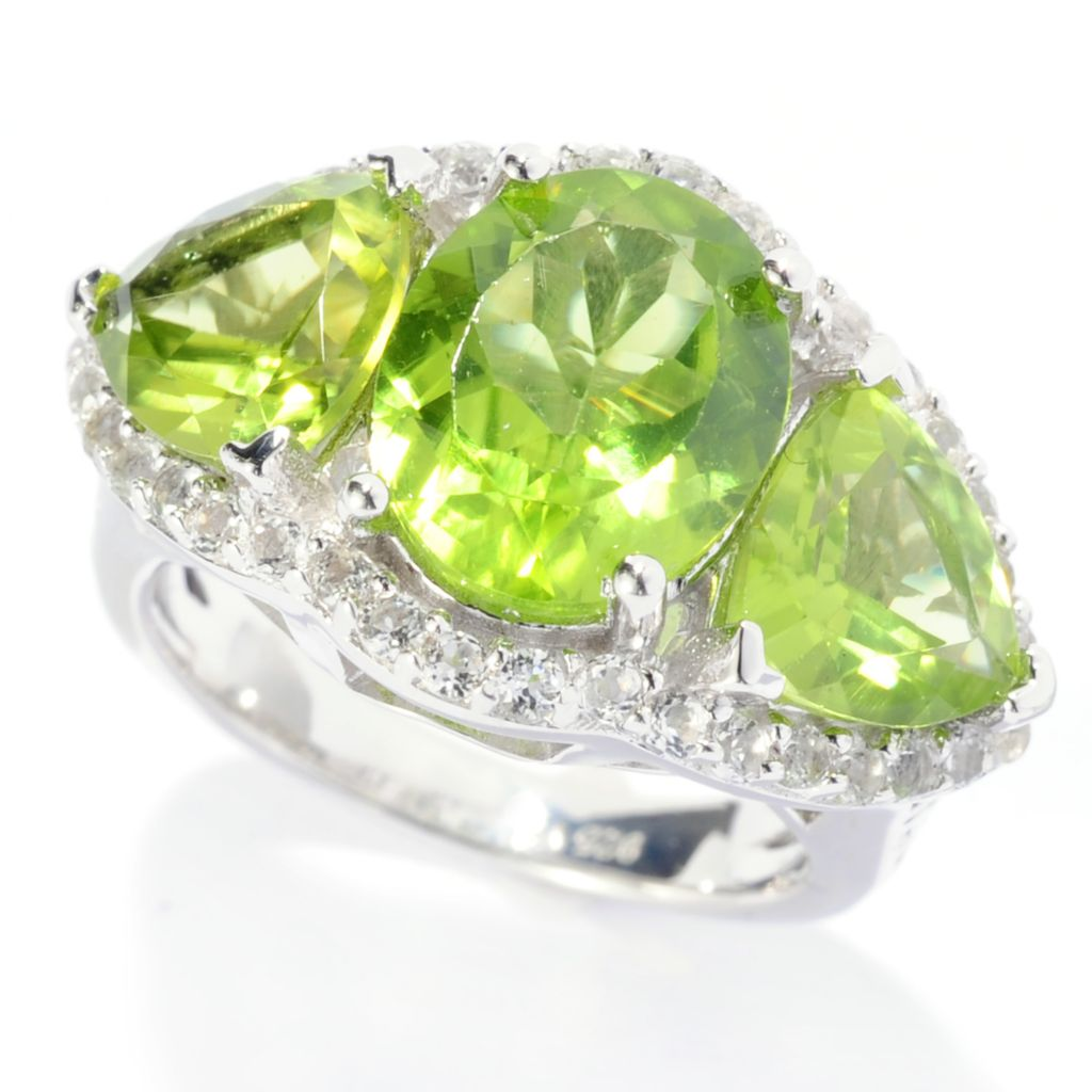 141-782 - Gem Insider Sterling Silver 6.30ctw Peridot & White Topaz Halo Ring