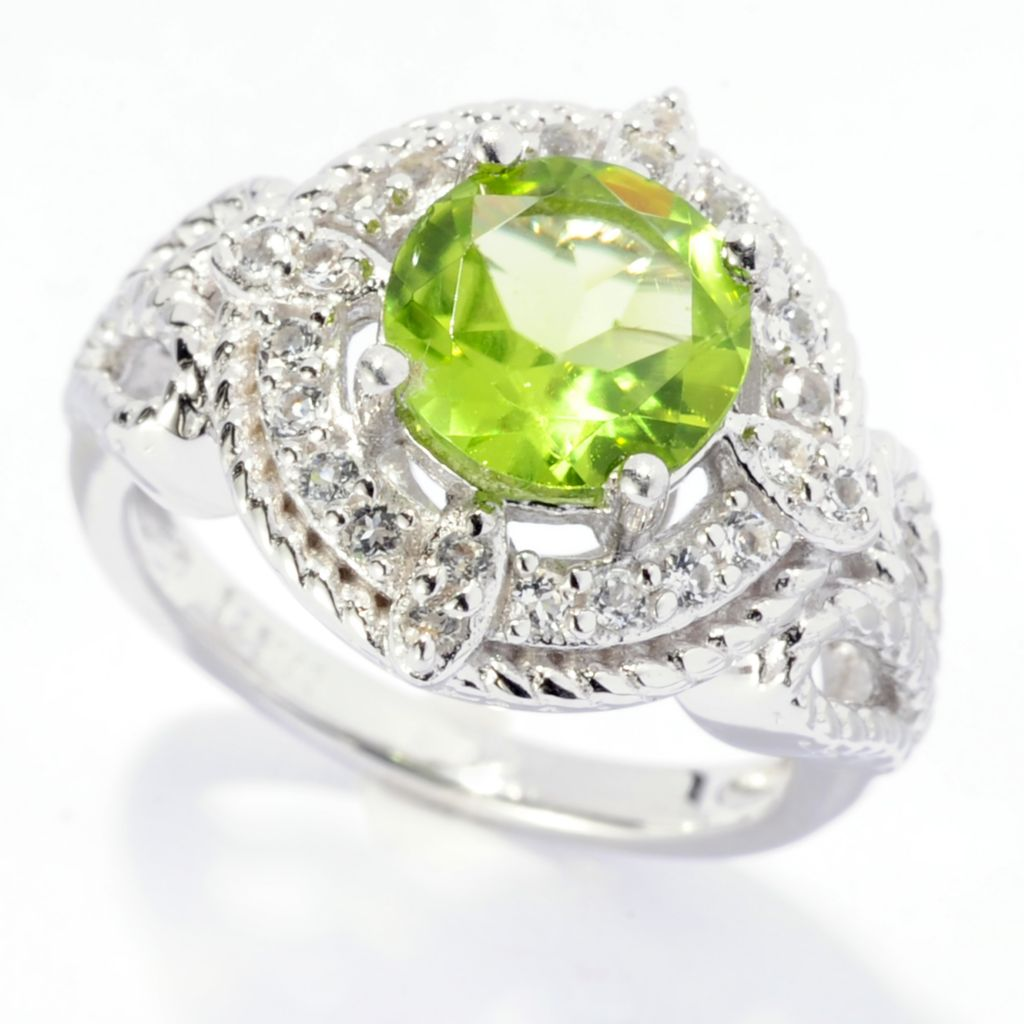 141-783 - Gem Insider Sterling Silver 2.94ctw Oval Peridot & White Topaz Ring