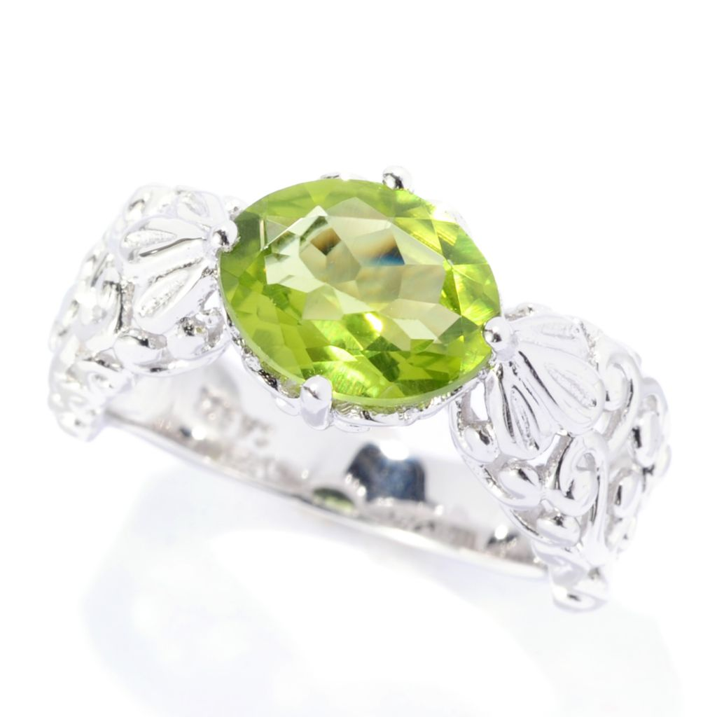 141-784 - Gem Insider Sterling Silver 2.50ctw Oval Peridot East-West Ring