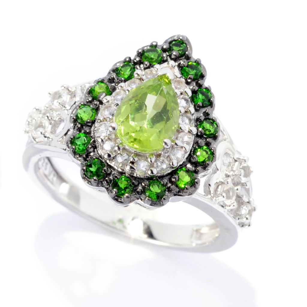 141-785 - Gem Insider Sterling Silver 1.43ctw Peridot, Chrome Diopside & White Topaz Ring