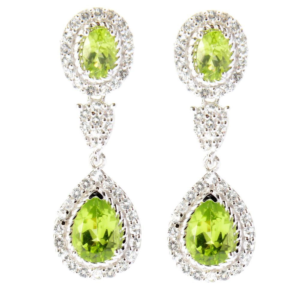 "141-786 - Gem Insider Sterling Silver 1.25"" 4.17ctw Peridot & White Topaz Earrings"