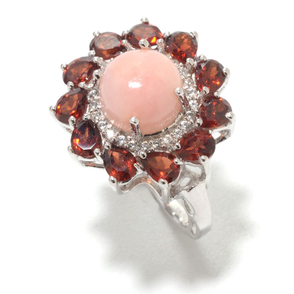 141-787 - Gem Insider Sterling Silver 8mm Pink Opal, White Zircon & Garnet Flower Ring