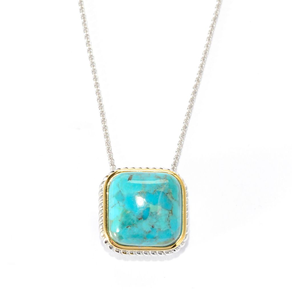 "141-788 - Gem Insider Two-tone 15mm Turquoise Framed Pendant w/ 18"" Chain"