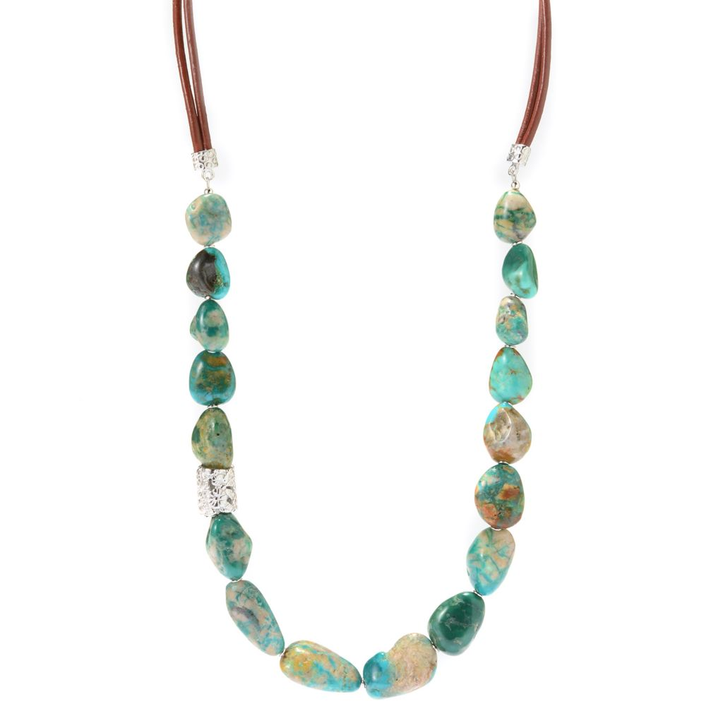 """141-790 - Gem Insider Sterling Silver 20"""" Nevada Fox Turquoise Bead Necklace"""
