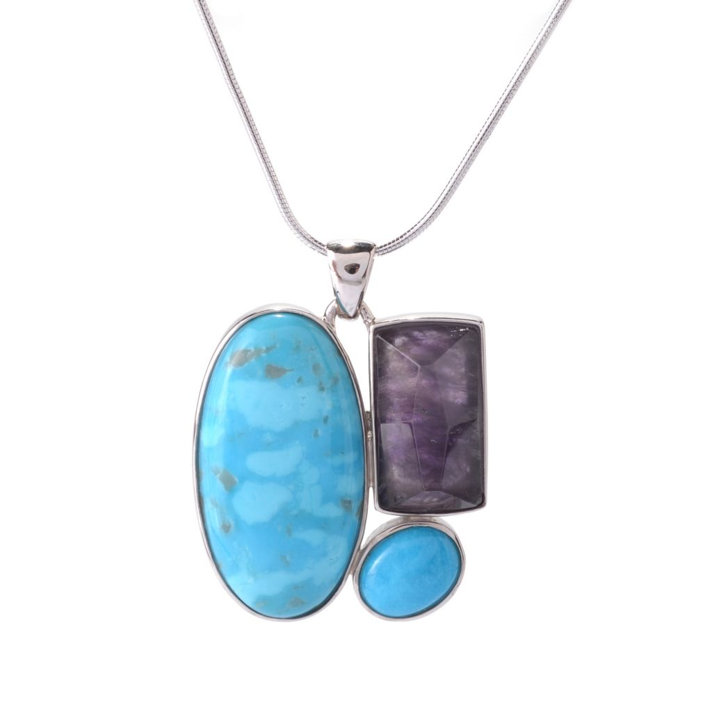 141-792 - Gem Insider Sterling Silver 28 x 15mm American Turquoise & Amethyst Pendant
