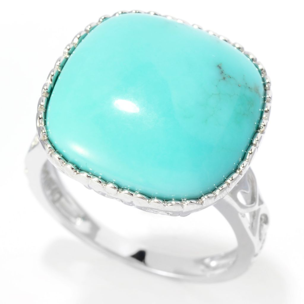 141-794 - Gem Insider Sterling Silver 15mm Campitos Mexican Turquoise Cut-out Shank Ring
