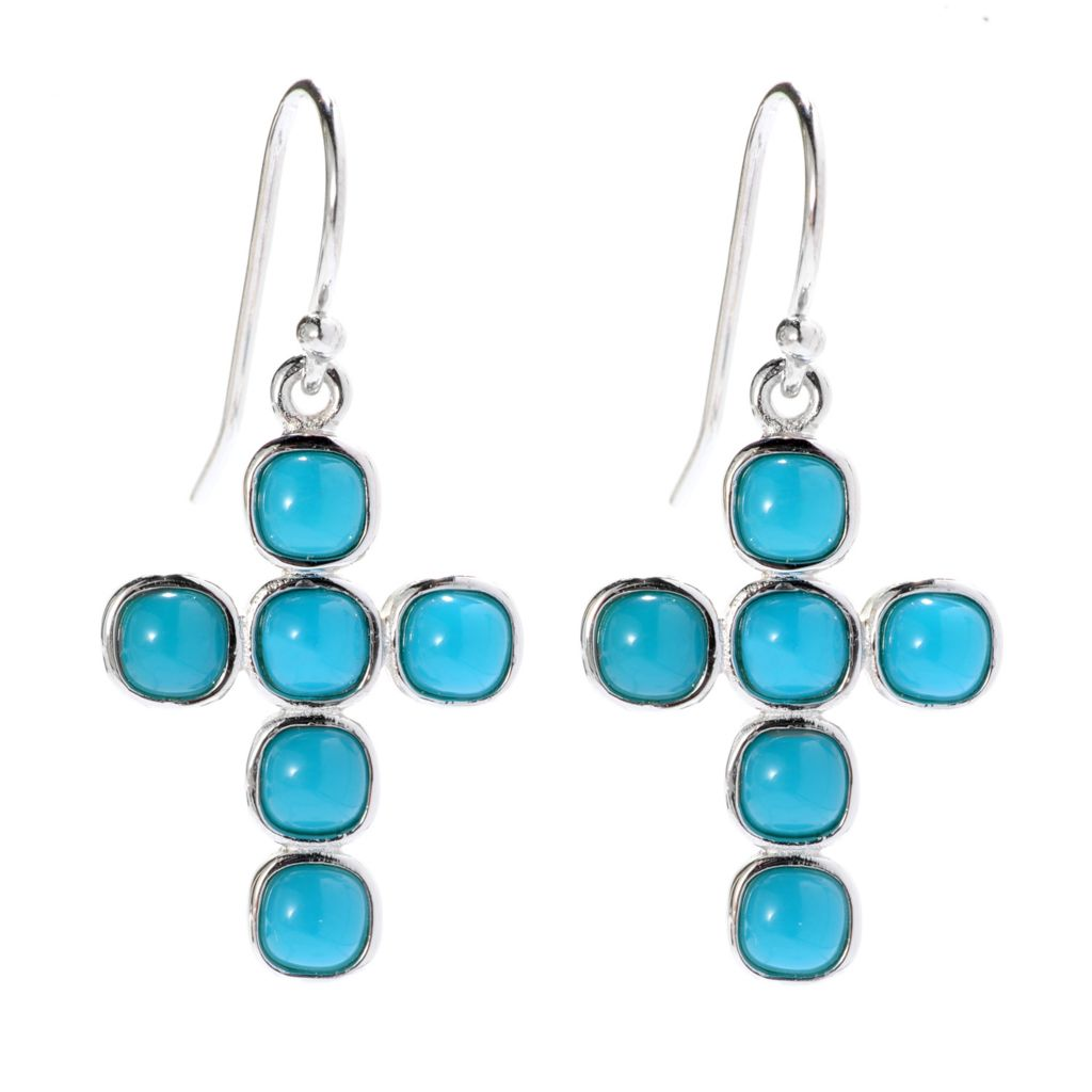 "141-798 - Gem Insider Sterling Silver 1.25"" Sleeping Beauty Turquoise Cross Earrings"