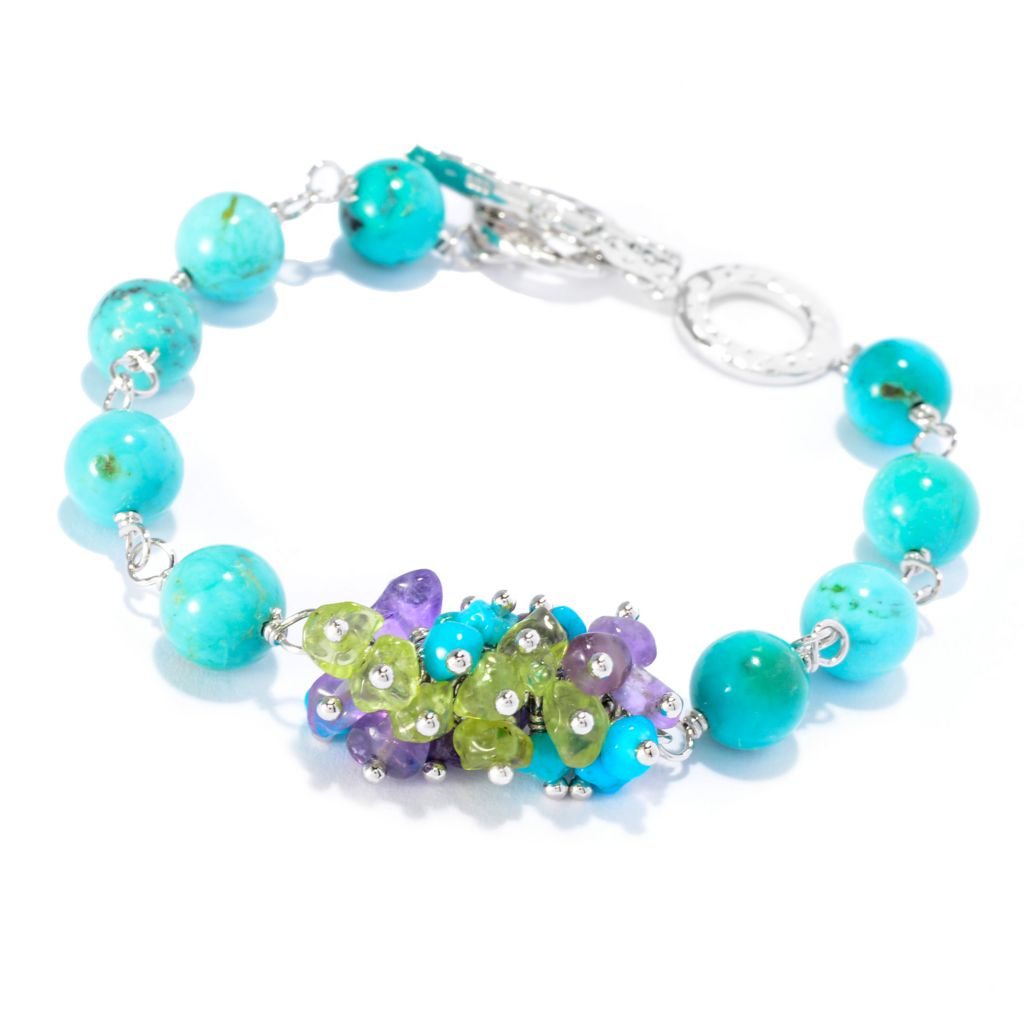 "141-800 - Gem Insider Sterling Silver 7.75"" Turquoise, Amethyst & Peridot Toggle Bracelet"