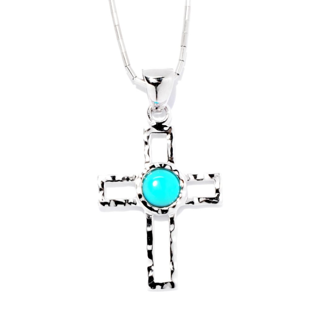 141-801 - Gem Insider Sterling Silver Sleeping Beauty Turquoise Cross Pendant w/ Chain
