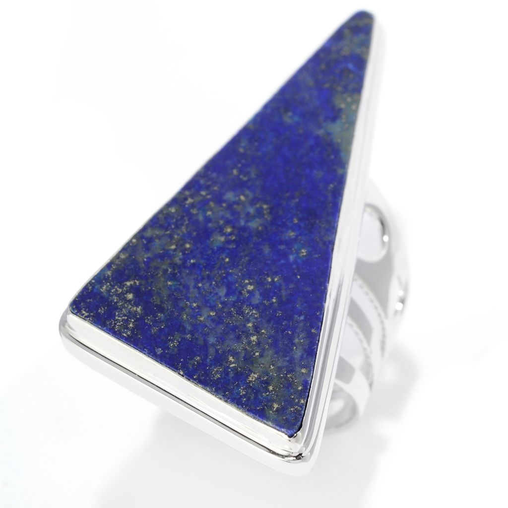 141-802 - Gem Insider Sterling Silver 43 x 20mm Fancy Shaped Lapis Elongated Ring