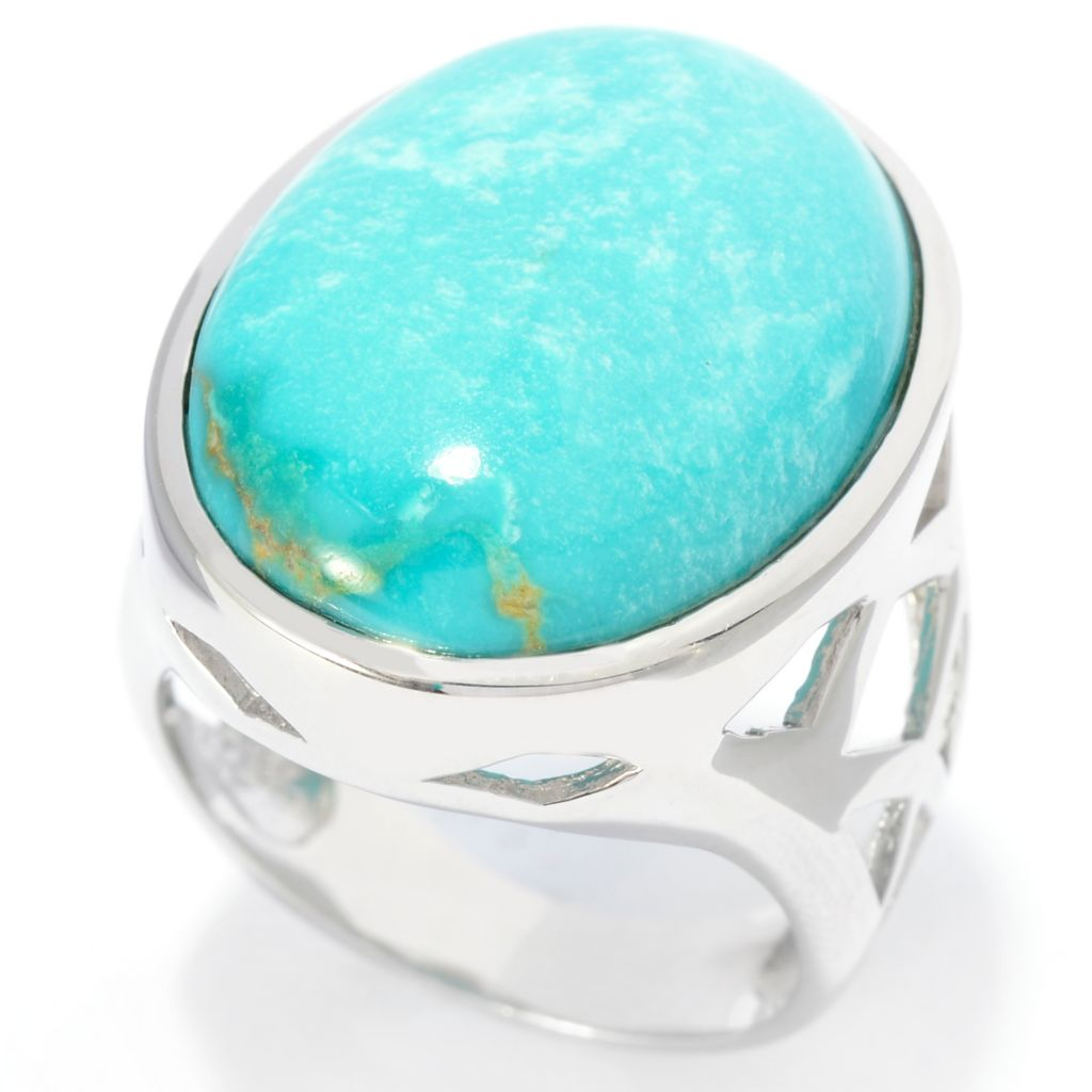 141-803 - Gem Insider Sterling Silver 21 x 16mm Oval Carico Lake Turquoise Ring