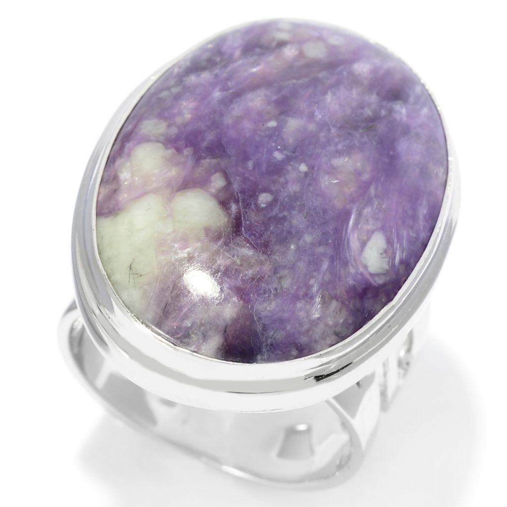 141-804 - Gem Insider Sterling Silver 25 x 18mm Oval Charoite Cut-out Shank Ring